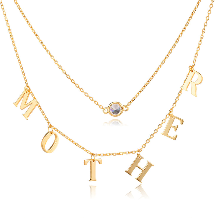 Gold Name Choker Double Layer Necklace with Gemstone