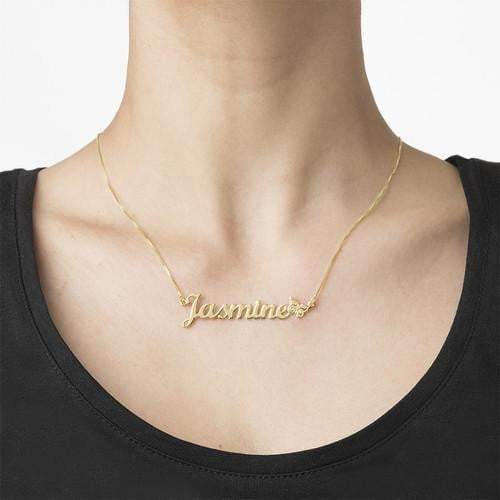 Gold Plated Custom Name Silver Necklace With Butterfly