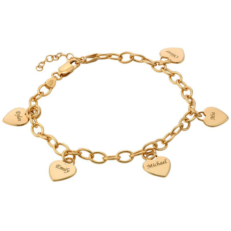 Gold Plated Personalized Heart Engraved Pendant Charm Link Bracelet