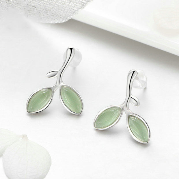 Green Buds Sterling Silver Small Stud Earrings