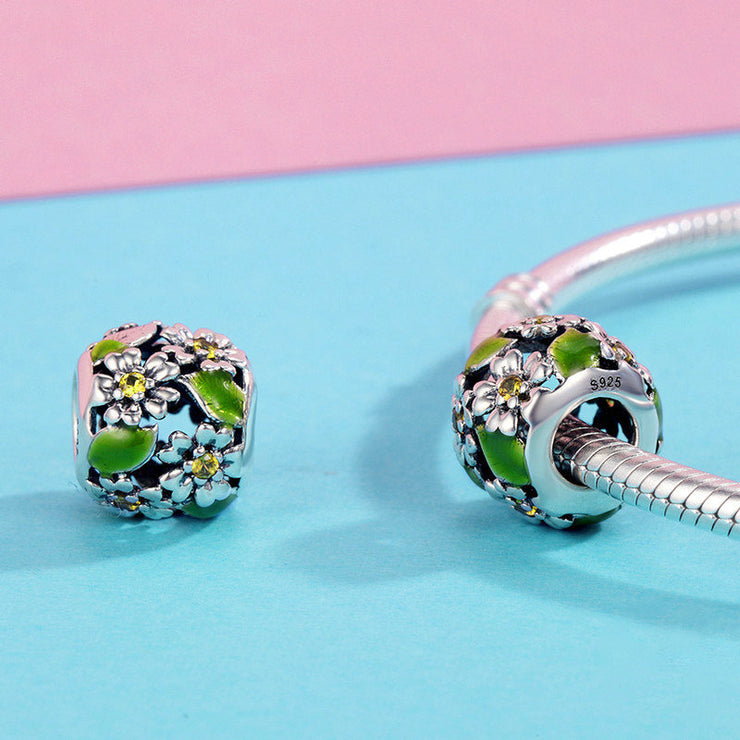 Green Dance Of Flowers Sterling Silver Bead