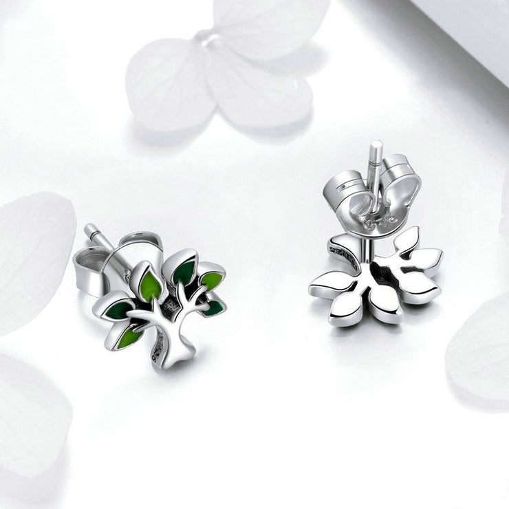Green Tree Of Life Sterling Silver Stud Earrings