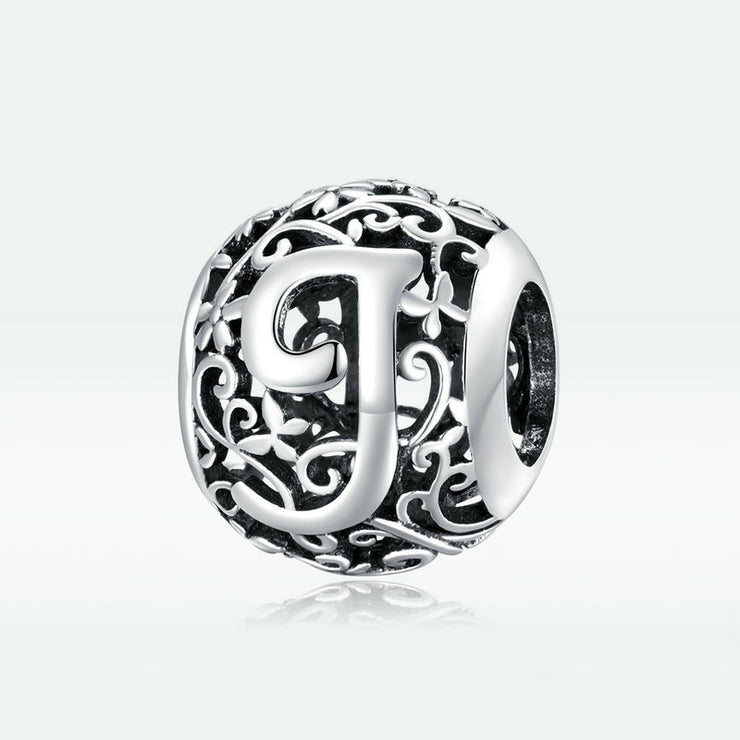 Hollow Letter J Retro Pattern Charm Bead