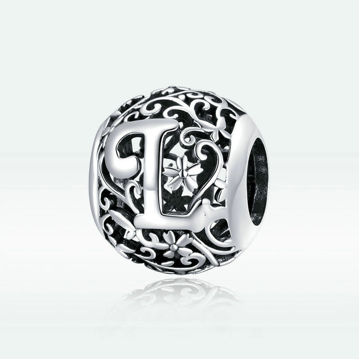 Hollow Letter L Retro Pattern Charm Bead