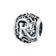 Hollow Letter R Retro Pattern Charm Bead