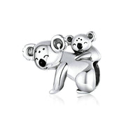 Koala Baby And Mom Sterling Silver Charm Bead