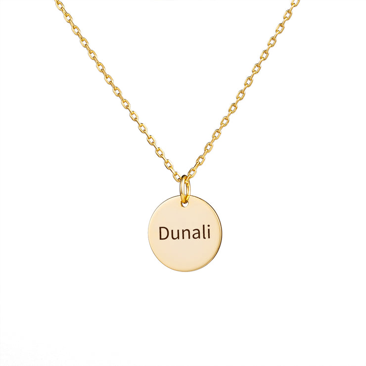 Sterling Silver Necklace Initial Thick Disc Necklace in Rose Gold Plating