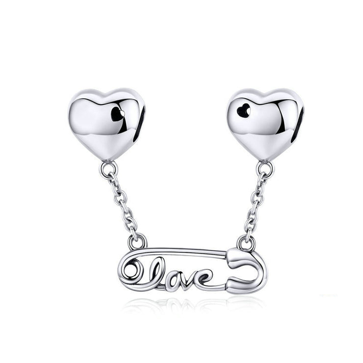 Love Button Needle Sterling Silver Heart Charm Bead