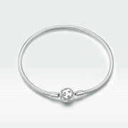 Love Heart Sterling Silver Clasp Chain Bracelet