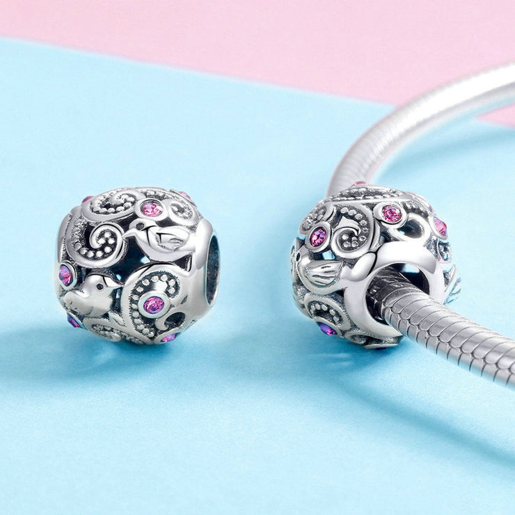Love Messenger Sterling Silver Ball Charm Bead