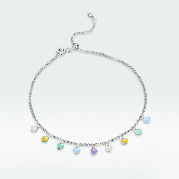 Love Rainbow Charm Sterling Silver Anklet