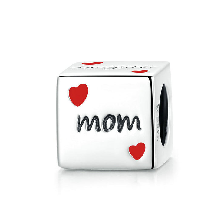 Mom Of Love Dice Sterling Silver Bead