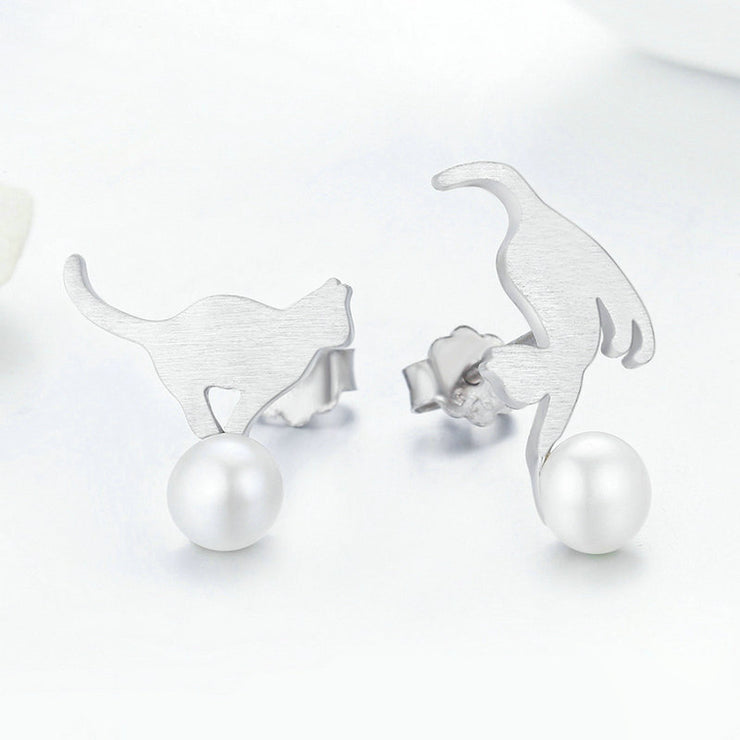 Naughty Cat Sterling Silver Pearl Stud Earrings