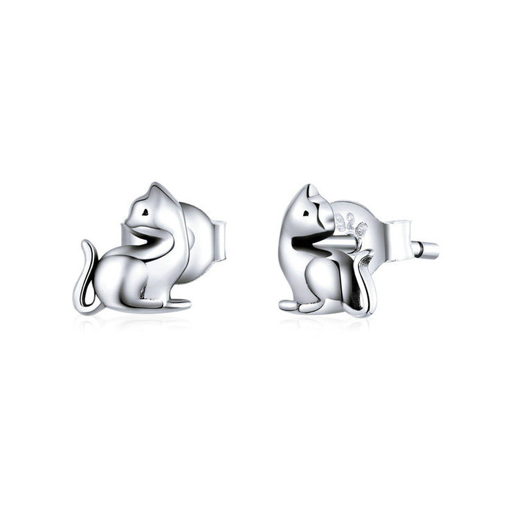 Naughty Cat Sterling Silver Small Stud Earrings