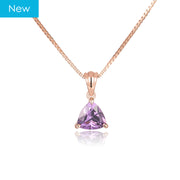 Pear-Shaped Pendant Necklace With Birthstone In Rose Gold Plating