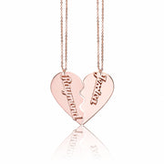 Personalized Couple Pendant Heart Necklace in Matte Gold Plating