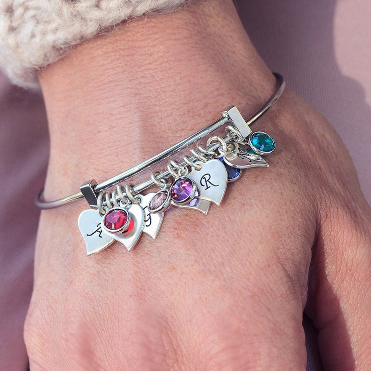 Personalized Initial Heart Charms Custom Bangle Bracelet With Birthstone