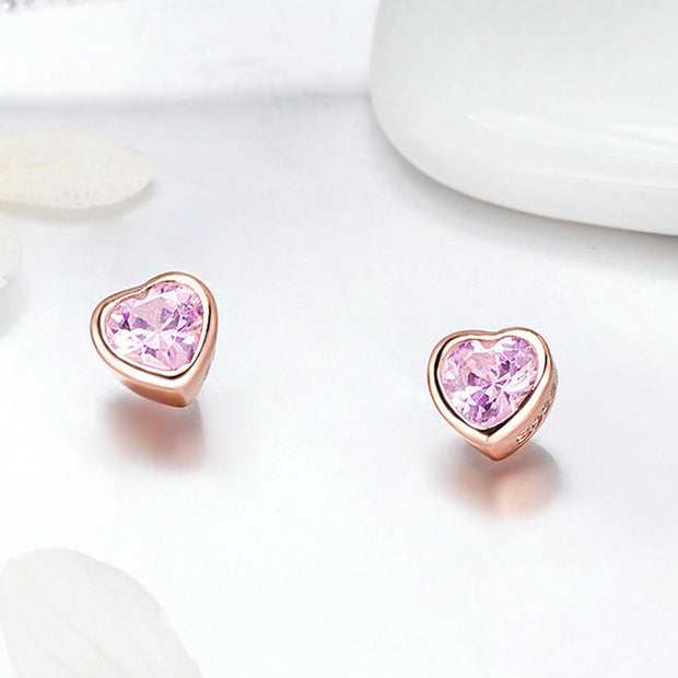 Pink Bright Heart Rose Gold Stud Earrings