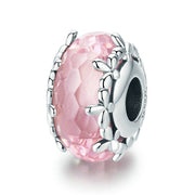 Pink Snowflake Flower Faceted Murano Glass Bead