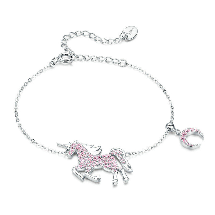 Pink Unicorn Sterling Silver Chain Charm Bracelet