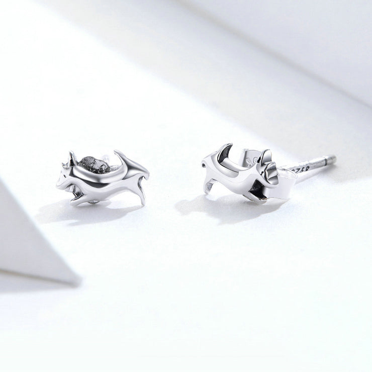 Playful Puppy Sterling Silver Small Stud Earrings