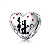 Propose Marriage Sterling Silver Heart Charm Bead