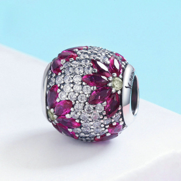 Purple Sparkling Spring Sterling Silver Charm Bead