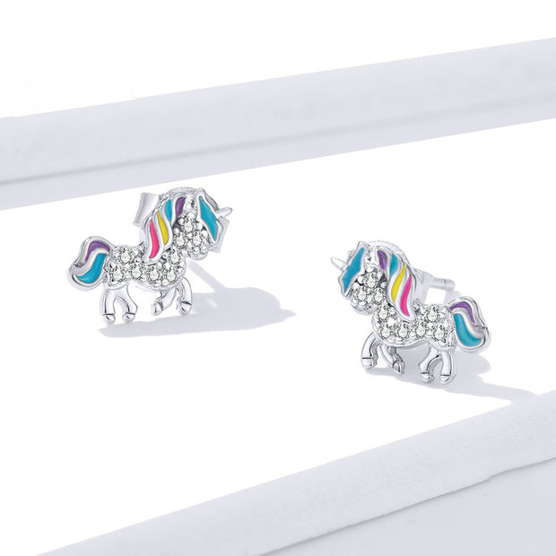 Rainbow Unicorn Sterling Silver Stud Earrings