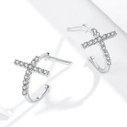 Religious Cross Curved Sterling Silver Stud Earrings