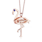 Flamingo Pendant with Birthstone Personalized Sterling Silver Necklace