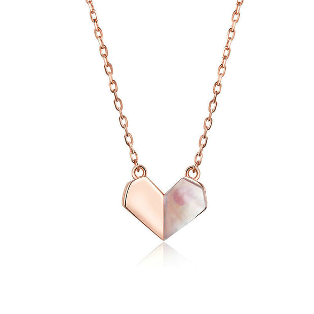 Rose Gold Plated Love Heart Sterling Silver Necklace