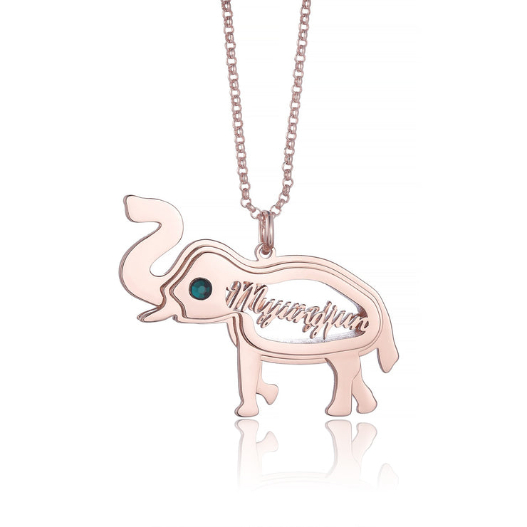 Silver Lovely Personalized Elephant Pendant with Custom Name Necklace