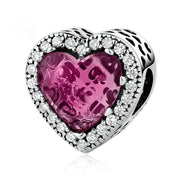Rose Shining Heart Sterling Silver Handmade Charm Bead