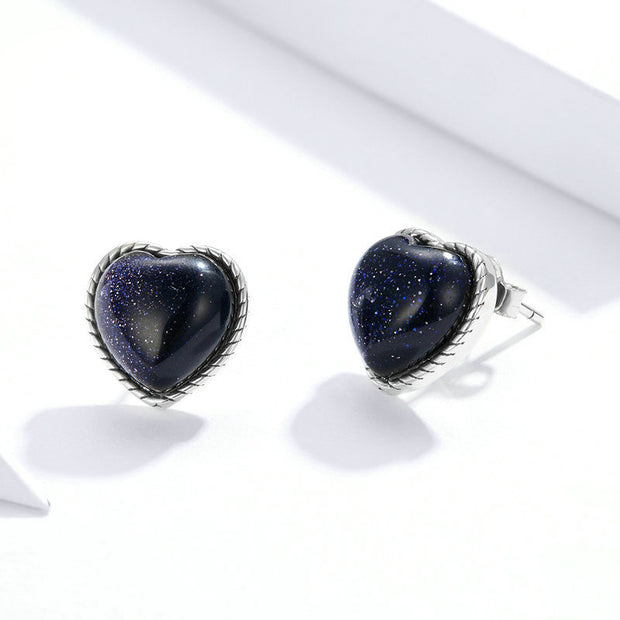 Shining Starry Sky Sterling Silver Heart Stud Earrings