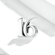 Simple Number 16 Sterling Silver Charm Bead