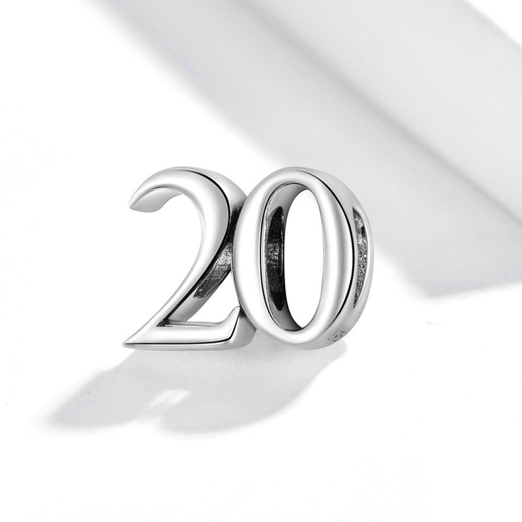 Simple Number 20 Sterling Silver Charm Bead