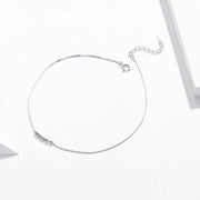 Simple Round Beads Sterling Silver Anklet