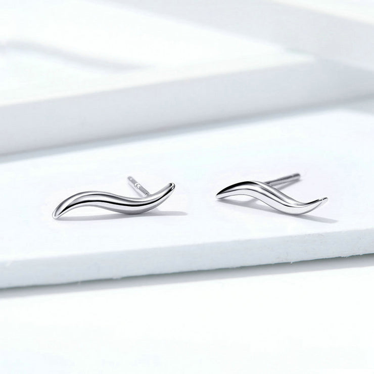 Smooth Line Sterling Silver Stud Earrings
