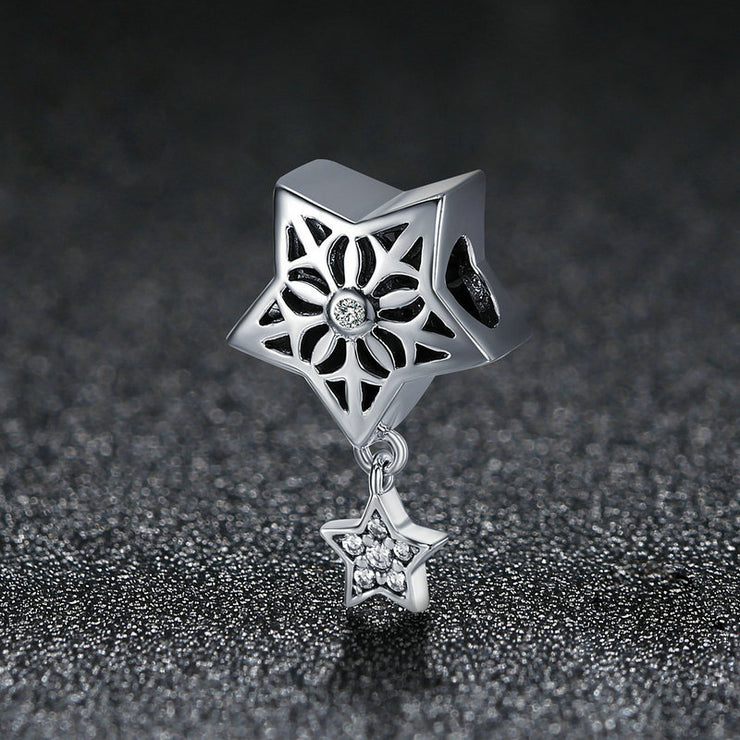 Snow Country Heart Sterling Silver Star Bead