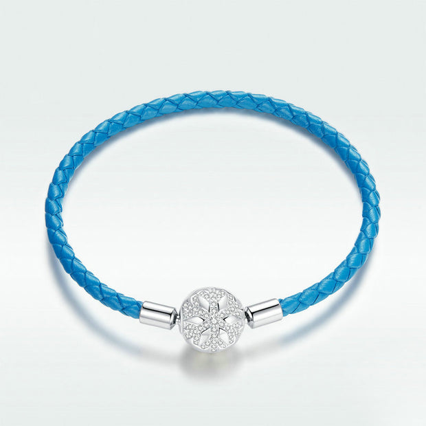 Snowflake Clasp Blue Braided Leather Bracelet