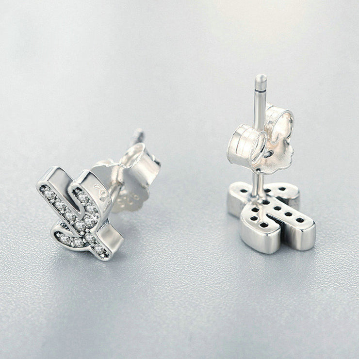 Sparkling Cactus Sterling Silver Stud Earrings