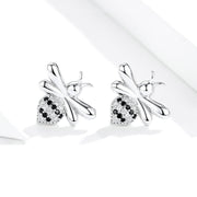 Sparkling Honeybee White Gold Stud Earrings