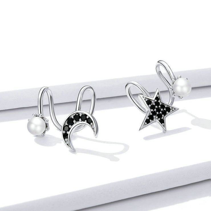 Star And Moon Sterling Silver Ear Clips