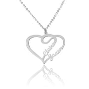 Sterling Silver Couple Heart Necklace with Personalized Names