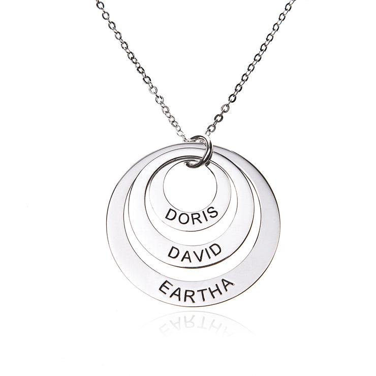 Sterling Silver Gold Plated Engraved 3 Rings Mother Necklace with Chain