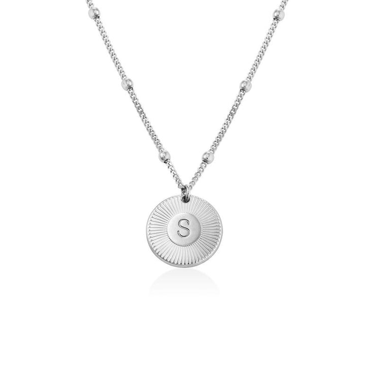 Sterling Silver Initial Round Disc Pendant Custom Name Necklace