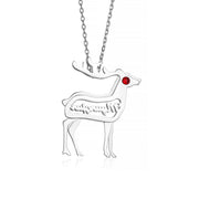 Sterling Silver Reindeer Necklace Christmas Holiday Pendant with Birthstone