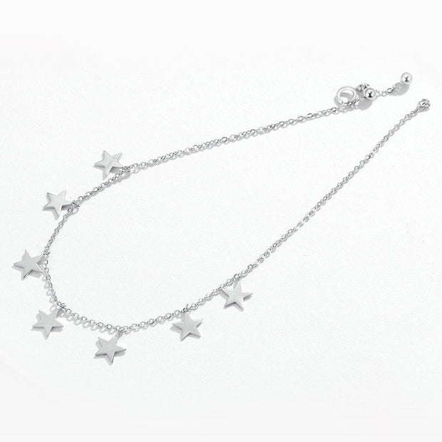 Sterling Silver Star Charm Chain Anklet