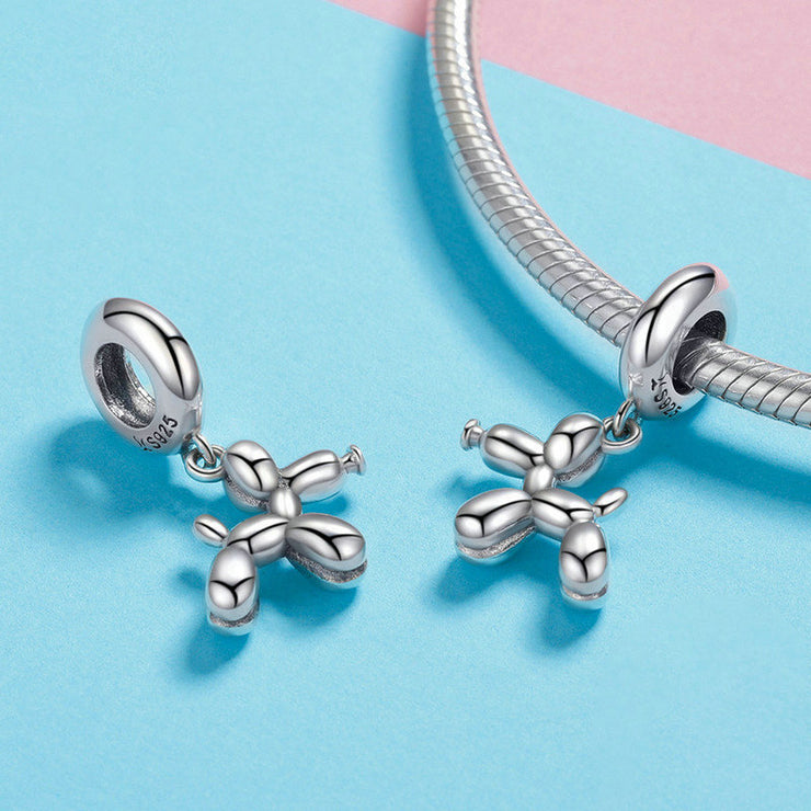 Sterling Silver Cute Balloon Dog Necklace Charm