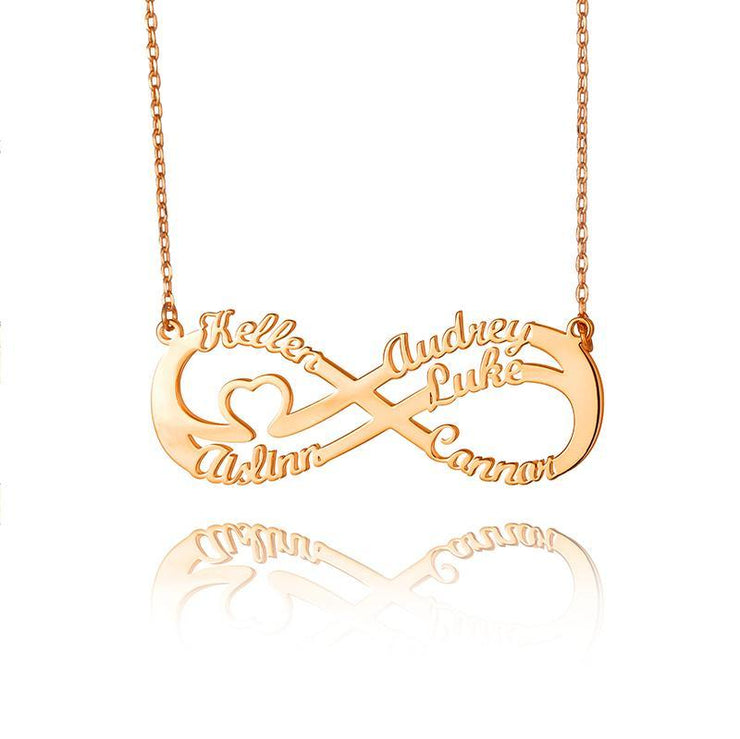Sterling Silver Infinity Personalised Custom 5 Names Necklace